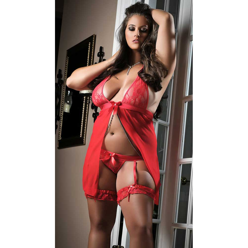 Flyaway Mini Dress with Matching Thong and Leg Garters Red 1X 2X - View #1