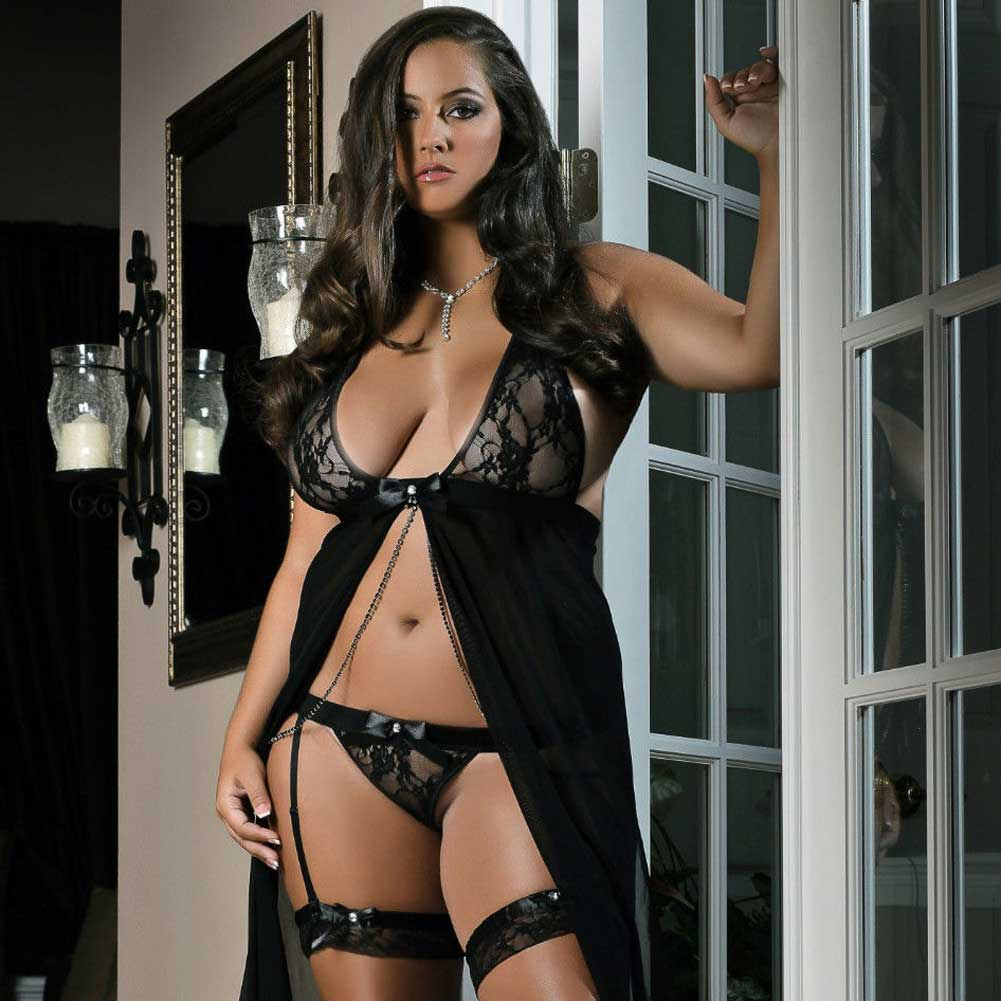 Flyaway Long Dress with Matching Thong and Leg Garters Black 3X 4X - View #3