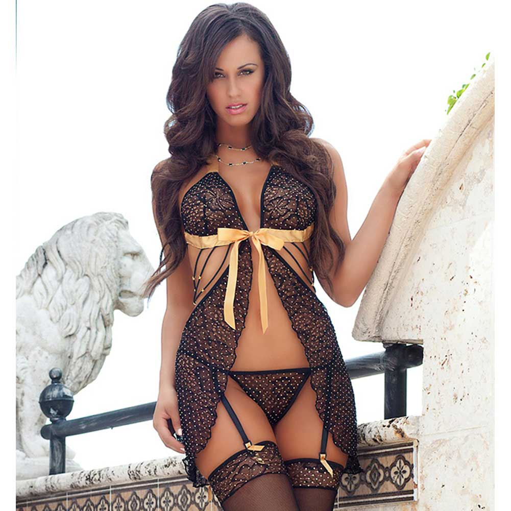 Darling Sheer Lace Babydoll with Stockings and Garter Panty Gold One Size - View #1