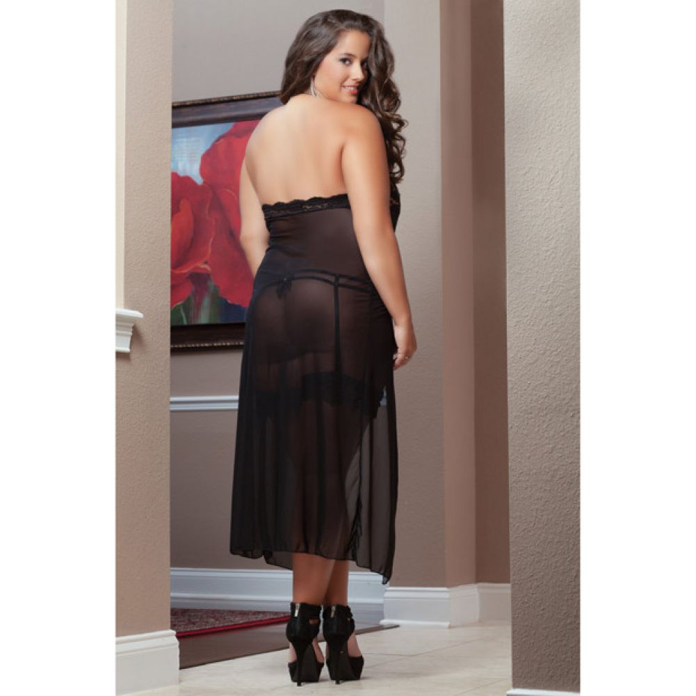 Sheer Dress with Double Waist Straps and Garter Around Thigh Black 3X 4X - View #2