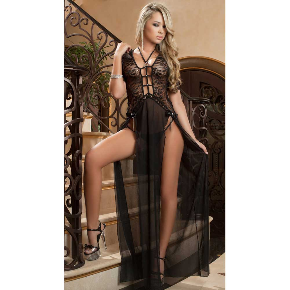 Sheer and Lace Gown with Double Front Slit with Straps and Thong Black One Size - View #1