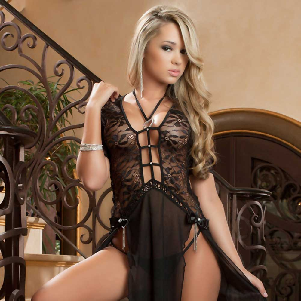 Sheer and Lace Gown with Double Front Slit with Straps and Thong Black One Size - View #3