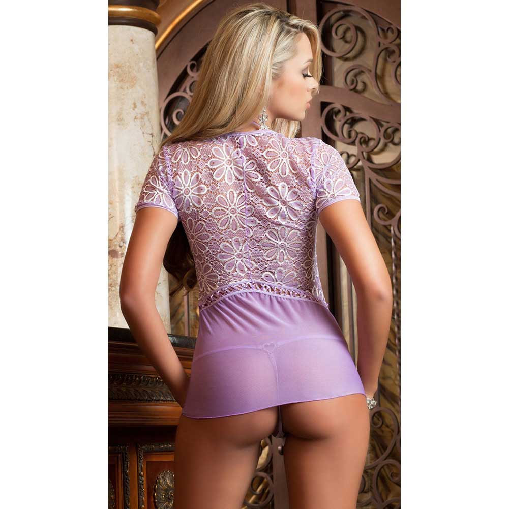 Sheer and Lace Babydoll with Bow and Chain Details and Thong Lilac One Size - View #2