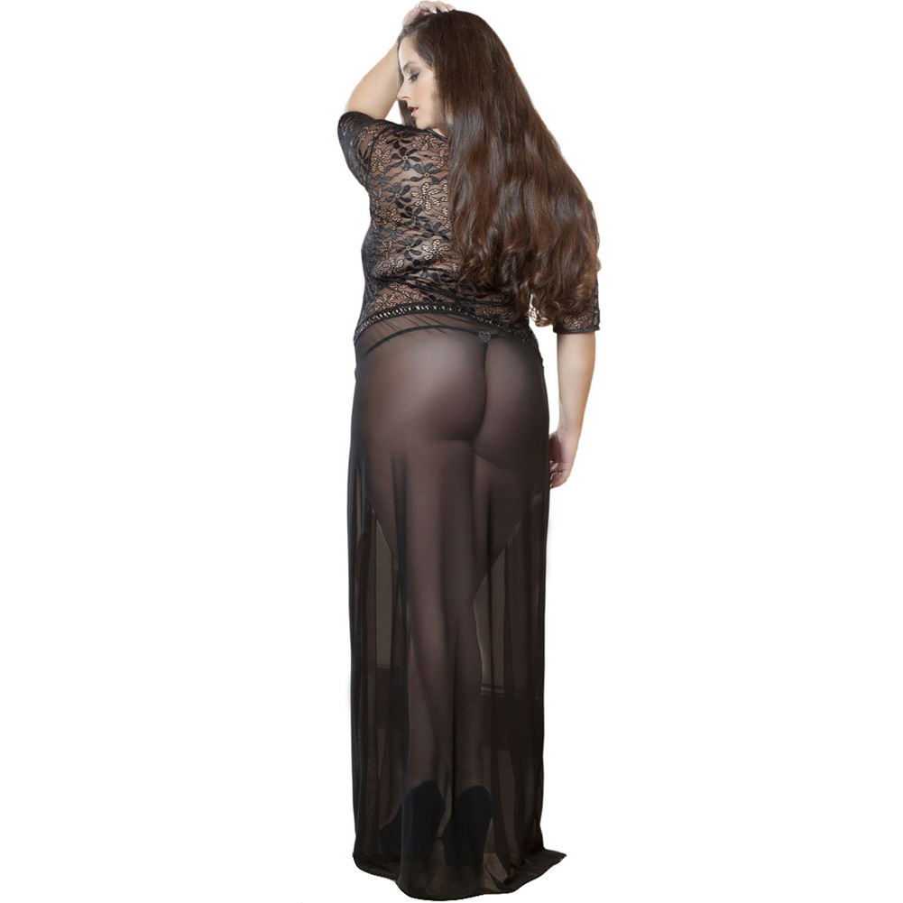 Sheer and Lace Gown with Double Front Slit with Straps and Thong Black 1X 2X - View #2
