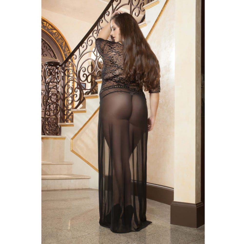 Sheer and Lace Gown with Double Front Slit with Straps and Thong Black 1X 2X - View #4