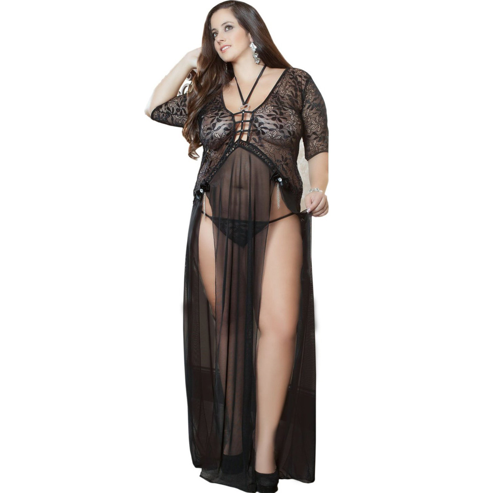 Sheer and Lace Gown with Double Front Slit with Straps and Thong Black 3X 4X - View #1