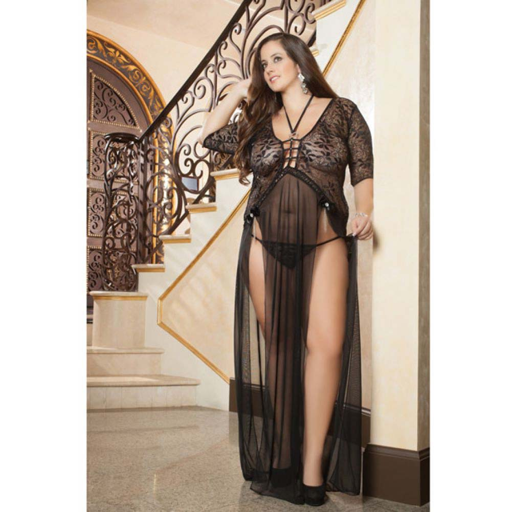 Sheer and Lace Gown with Double Front Slit with Straps and Thong Black 3X 4X - View #3