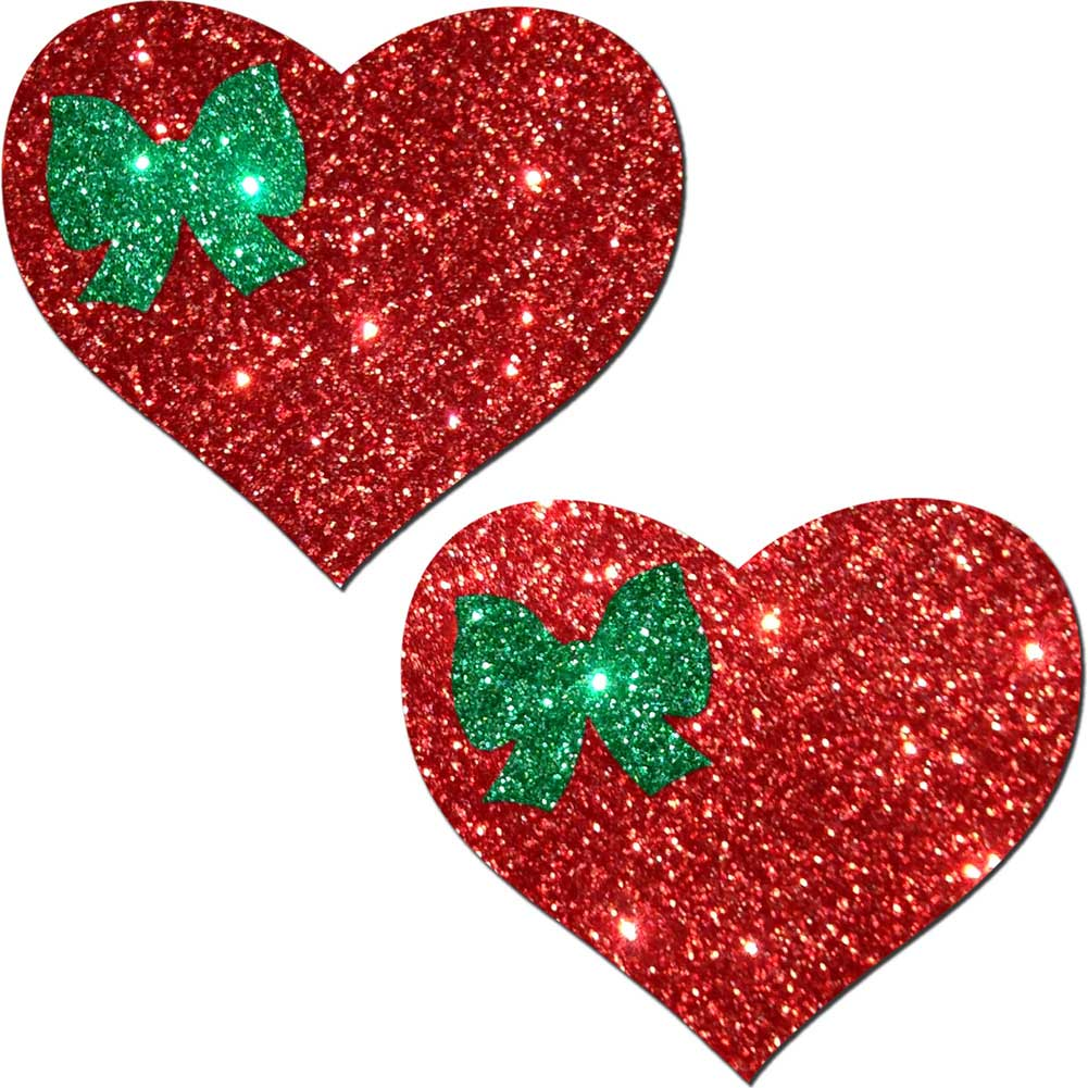 G World Glitter Tease Heart and Bow Pasties Sexy Wear One Size Christmas Red/Green - View #2
