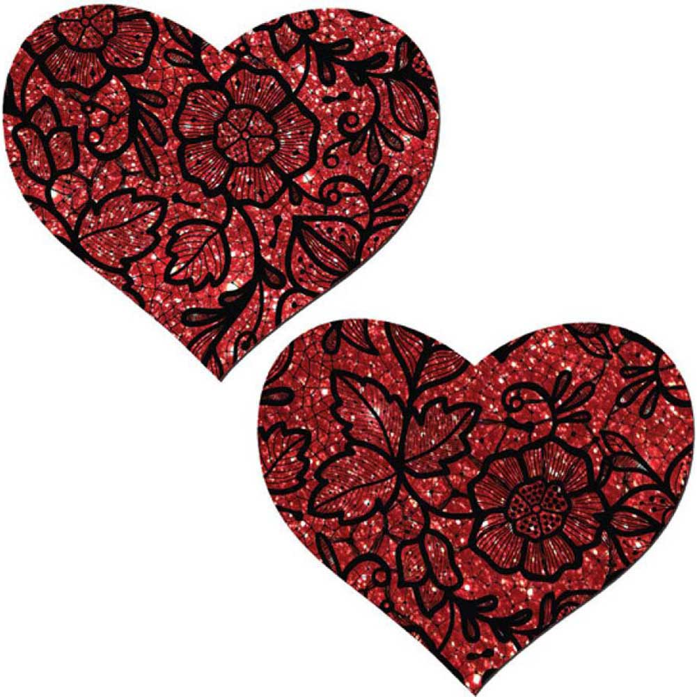 Tease Red Lace Print Heart One Size - View #2