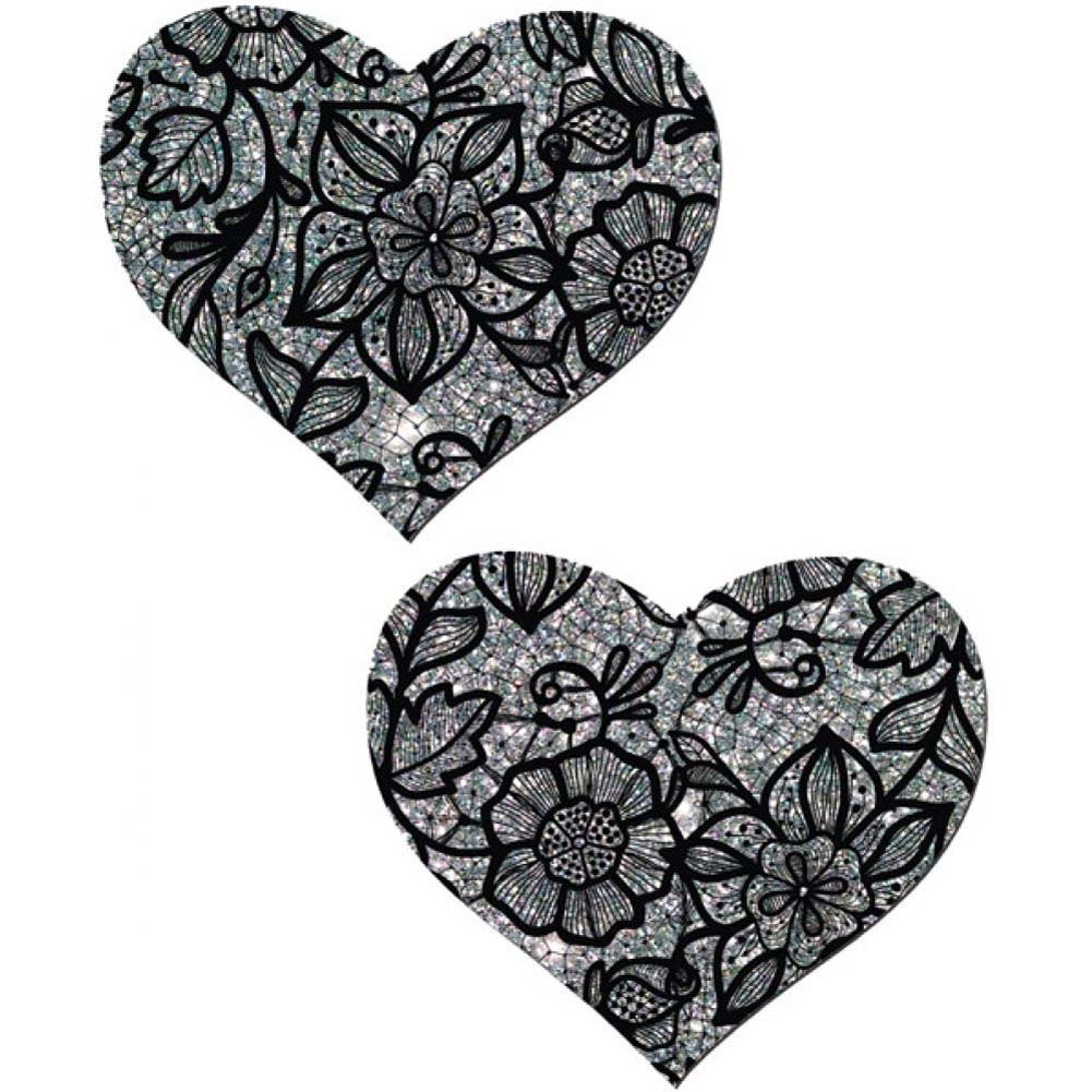 Tease Silver Lace Print Heart One Size - View #1
