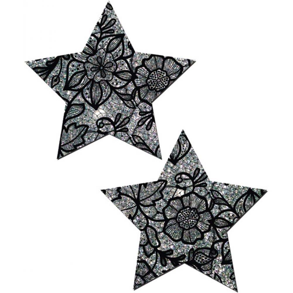 Tease Silver Glitter with Black Flower Lace Star Nipple Pasties One Size - View #2