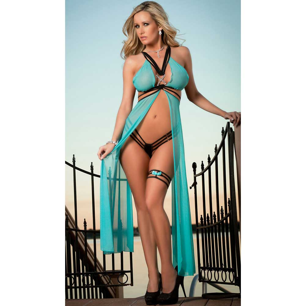 Long Butterfly Sheer Gown with Open Strappy Back and Garter Aqua One Size - View #1