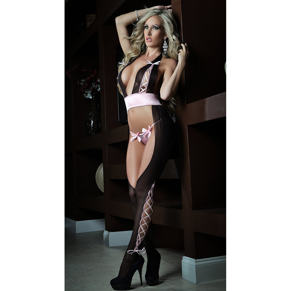 Cutout Halter Bodystocking with Sequined Panty Wine One Size - View #3