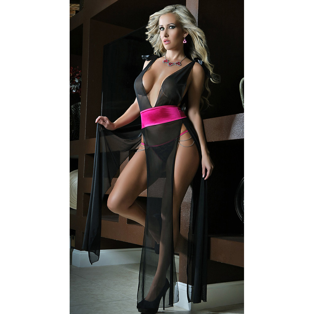Deep V Neckline High Slit Sides Open Back Gown and Lace Thong Black Pink One Size - View #1
