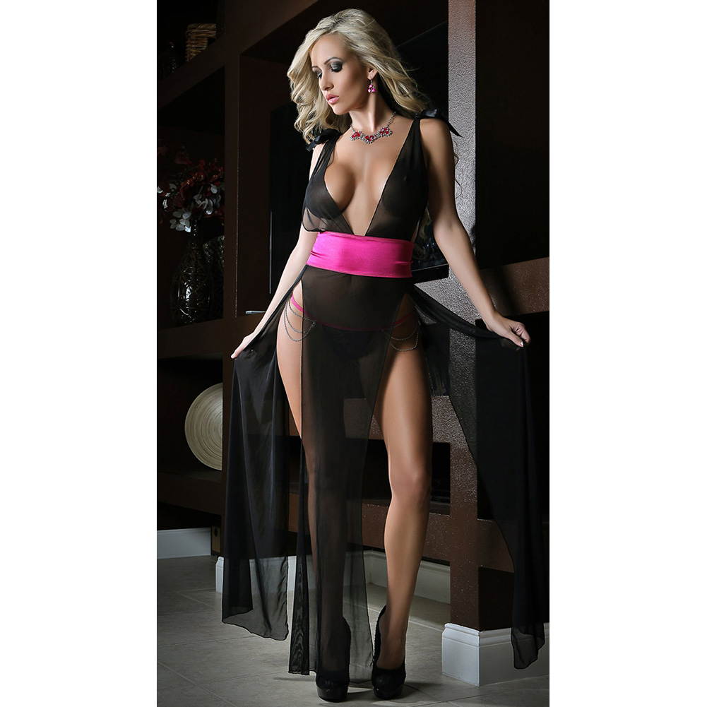 Deep V Neckline High Slit Sides Open Back Gown and Lace Thong Black Pink One Size - View #3