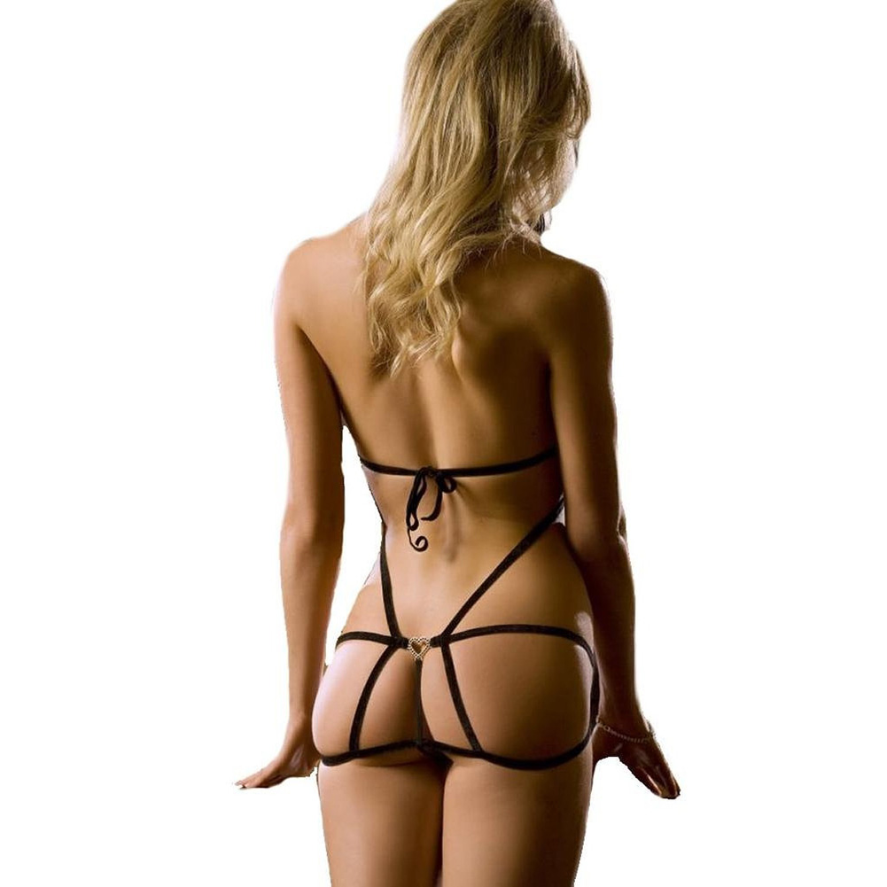 Xrated One Piece Halter Teddy with Straps and Lace Detail Black One Size - View #2