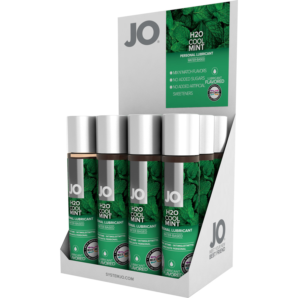 System JO H2O Cool Mint Flavored Intimate Lubricant 1 Fl.Oz 30 mL Bottles 12 Piece Display - View #2