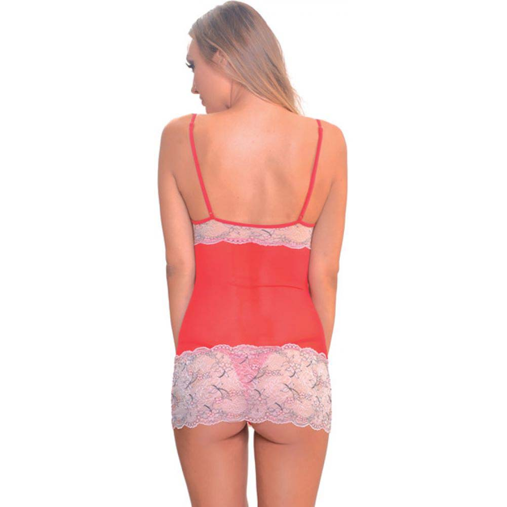 Popsi Sheer Babydoll with Lace Top and Thong 3XL Coral/ Racy Red - View #2