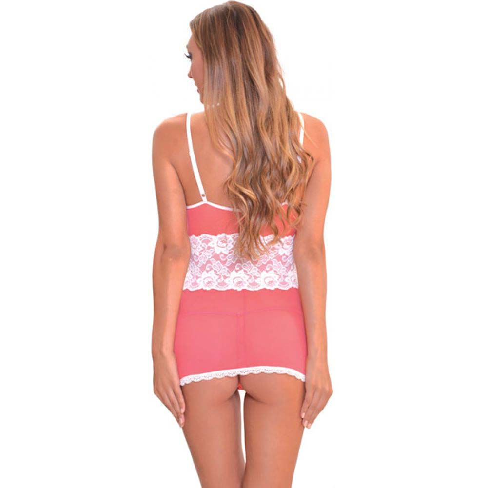 Popsi Lace Babydoll with Panty Large Strawberry/ Coral Pink - View #2
