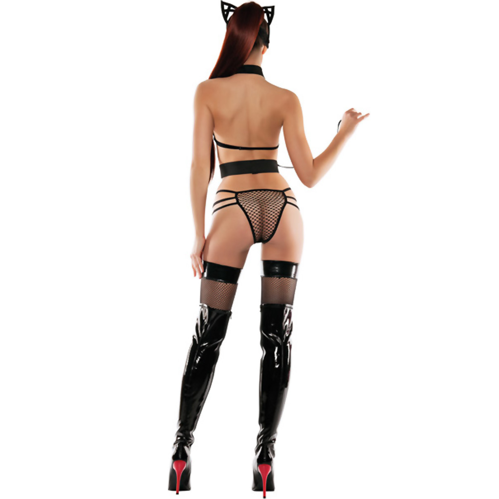 StarLine Mesh Roleplay Kitty Lingerie 3 Piece Set with Cat Ears and Mask Small/Medium Black - View #4