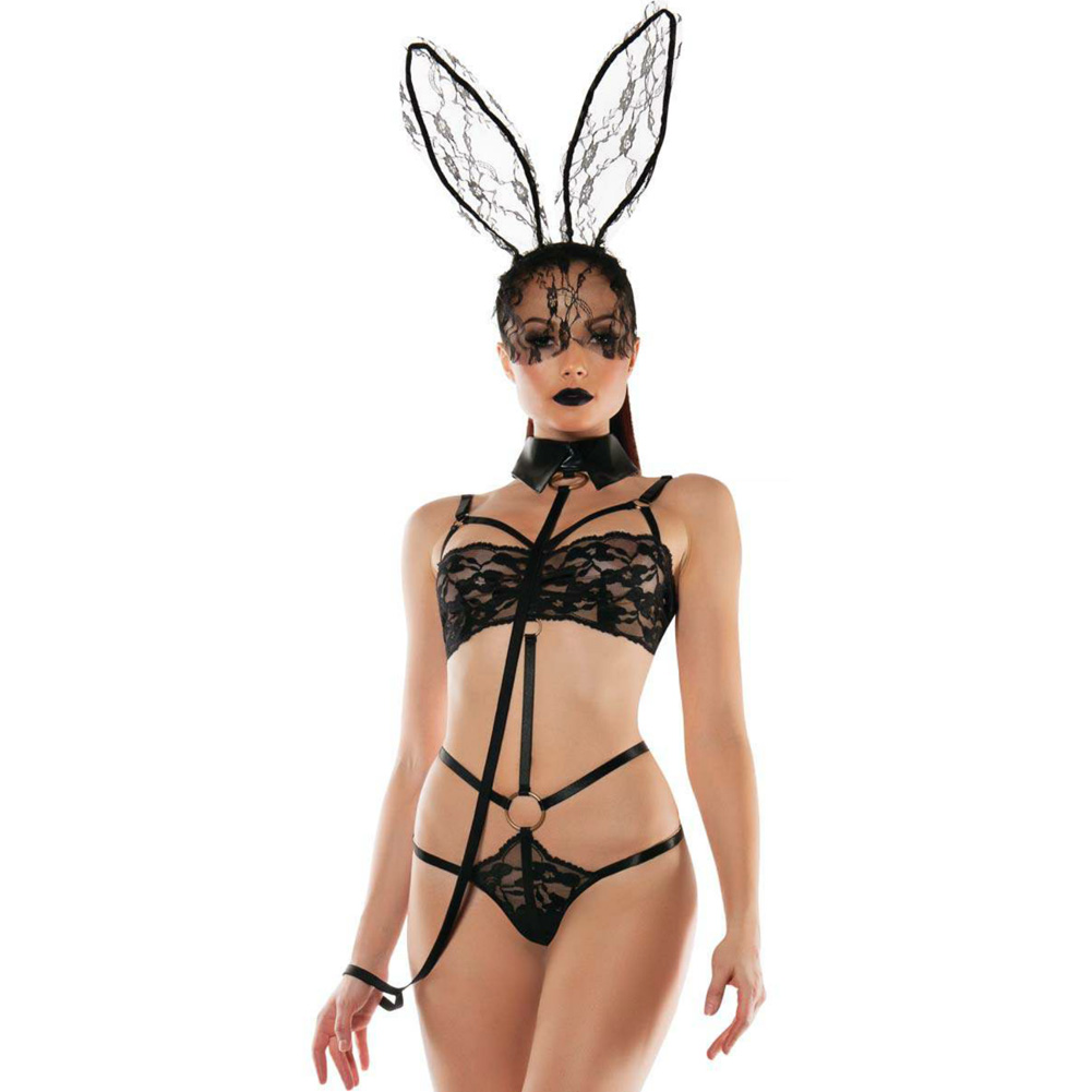 Roleplay Bunny Lace Playsuit with Collared Leash Black Medium Large - View #1