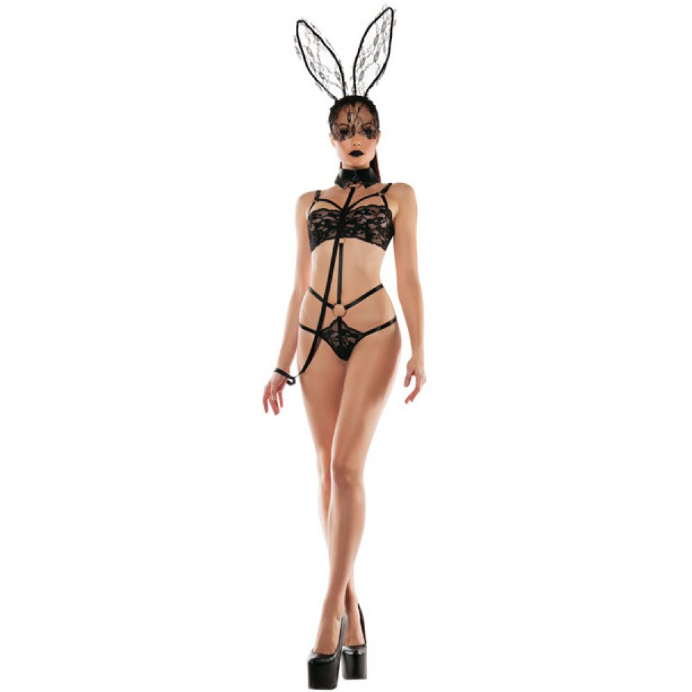 Roleplay Bunny Lace Playsuit with Collared Leash Black Medium Large - View #3