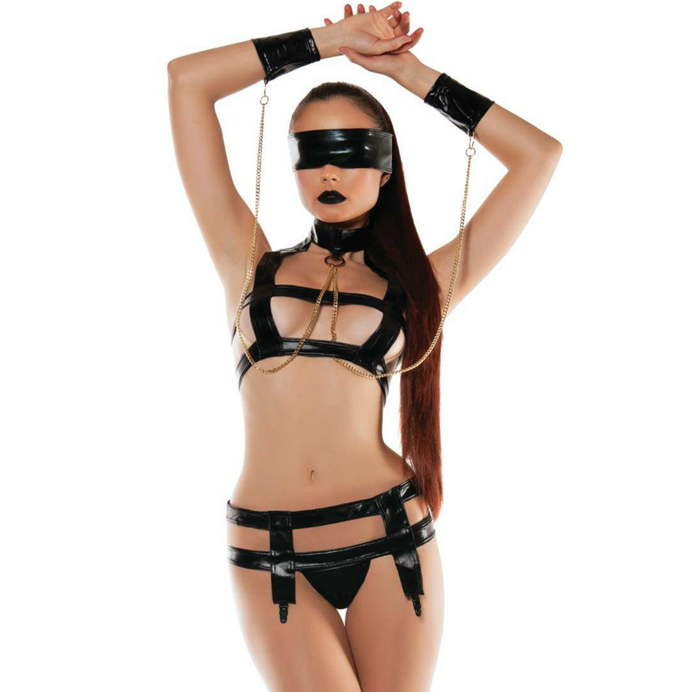 Roleplay Faux Leather Bndage Top with Wrist Cuffs and Garter Medium/Large Black - View #1