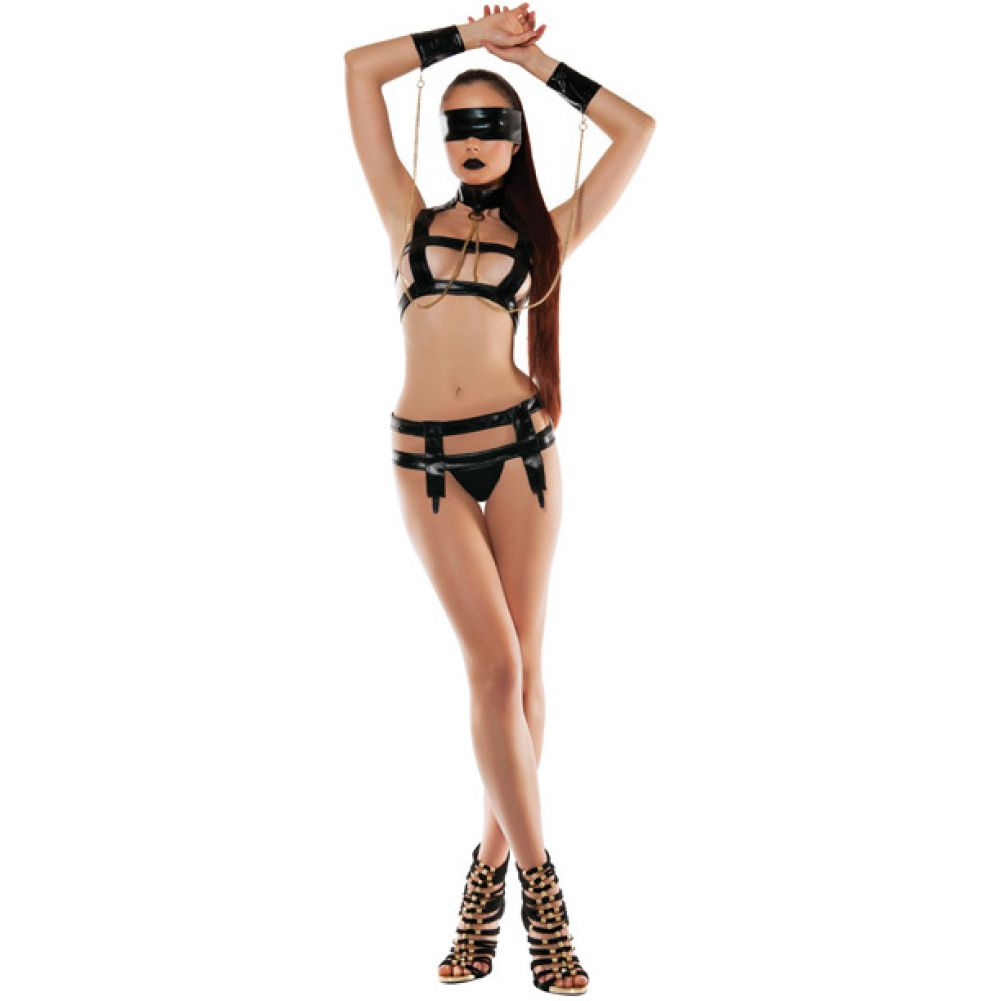 Roleplay Faux Leather Bndage Top with Wrist Cuffs and Garter Medium/Large Black - View #3