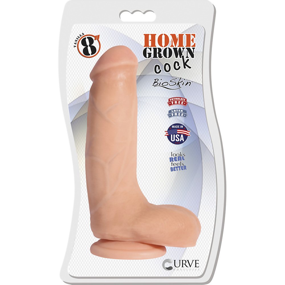 "Home Grown Cock BioSkin Realistic Dong 8"" Vanilla - View #1"