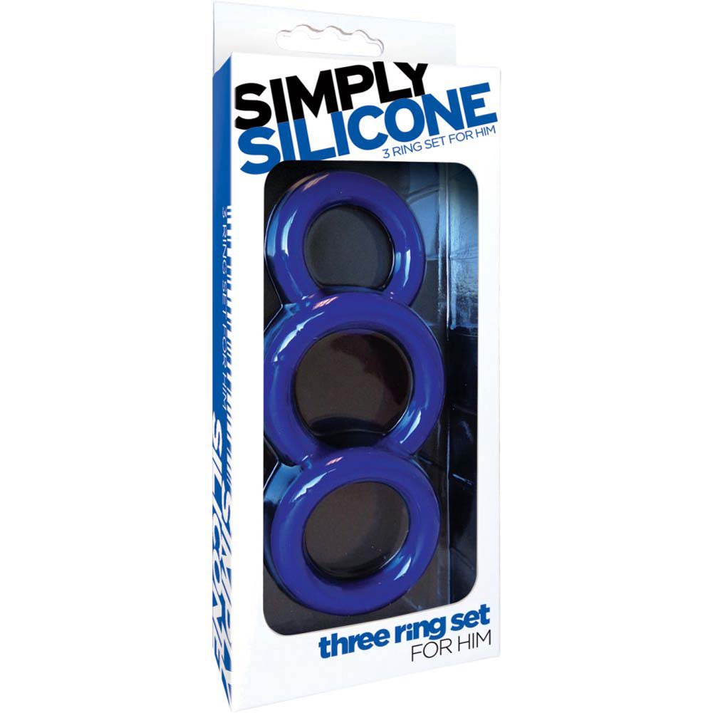 Simply Silicone Cockring Trio Midnight Blue - View #1