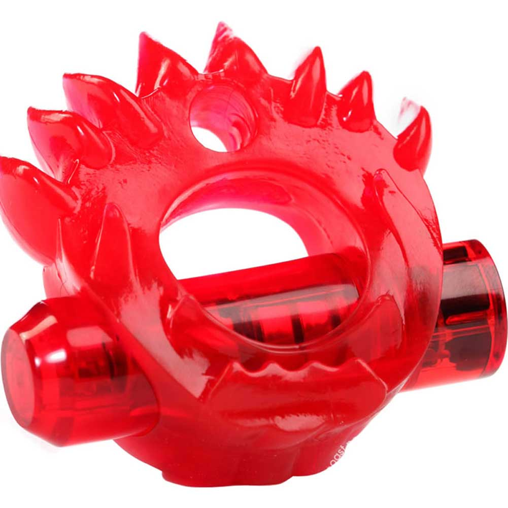 Crossbones Flame Thrower Dual Bullet Vibrating Cockring Red - View #3
