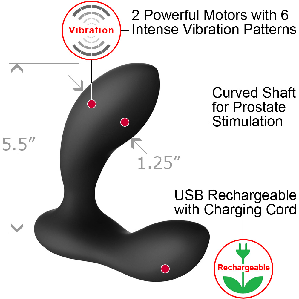 "Lelo Bruno Wireless Silicone Anal Stimulator for Men 5.5"" Black - View #1"