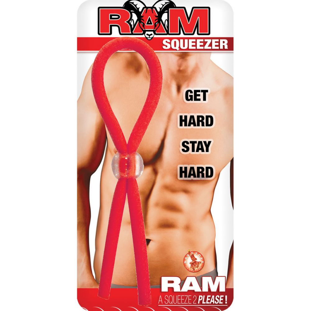 Ram Squeezer Cock Ring Adjustable Red - View #1