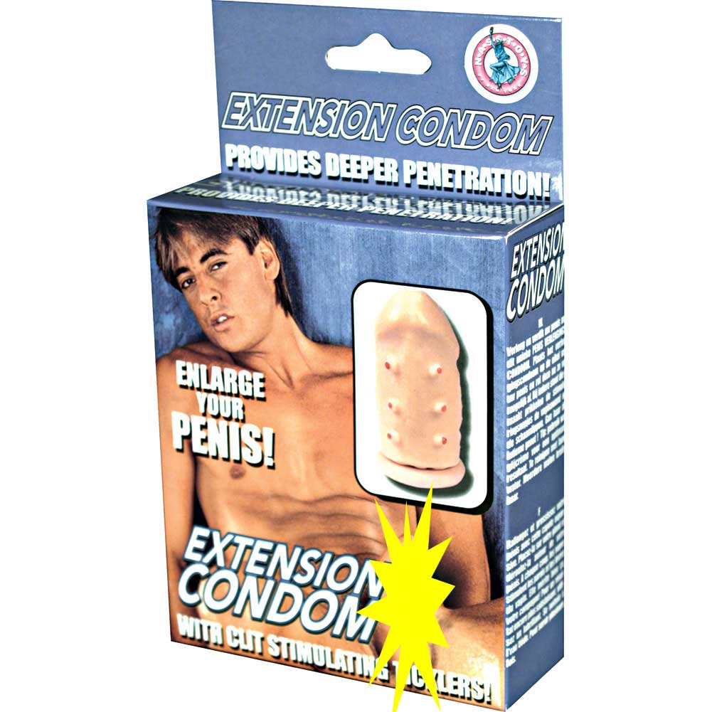 "Extension Condom with Clit Stimulating Ticklers Extra 2"" Flesh - View #1"