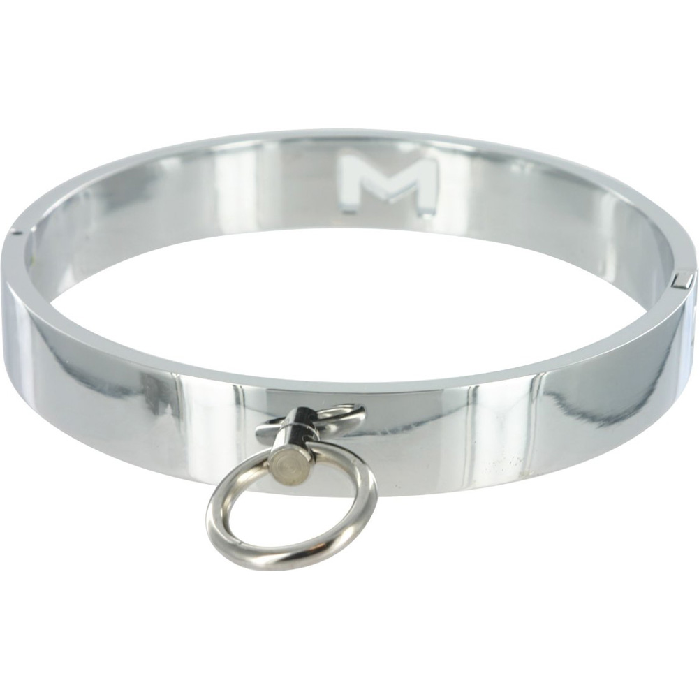 Master Series Chrome Slave Collar Med/Large Silver - View #2
