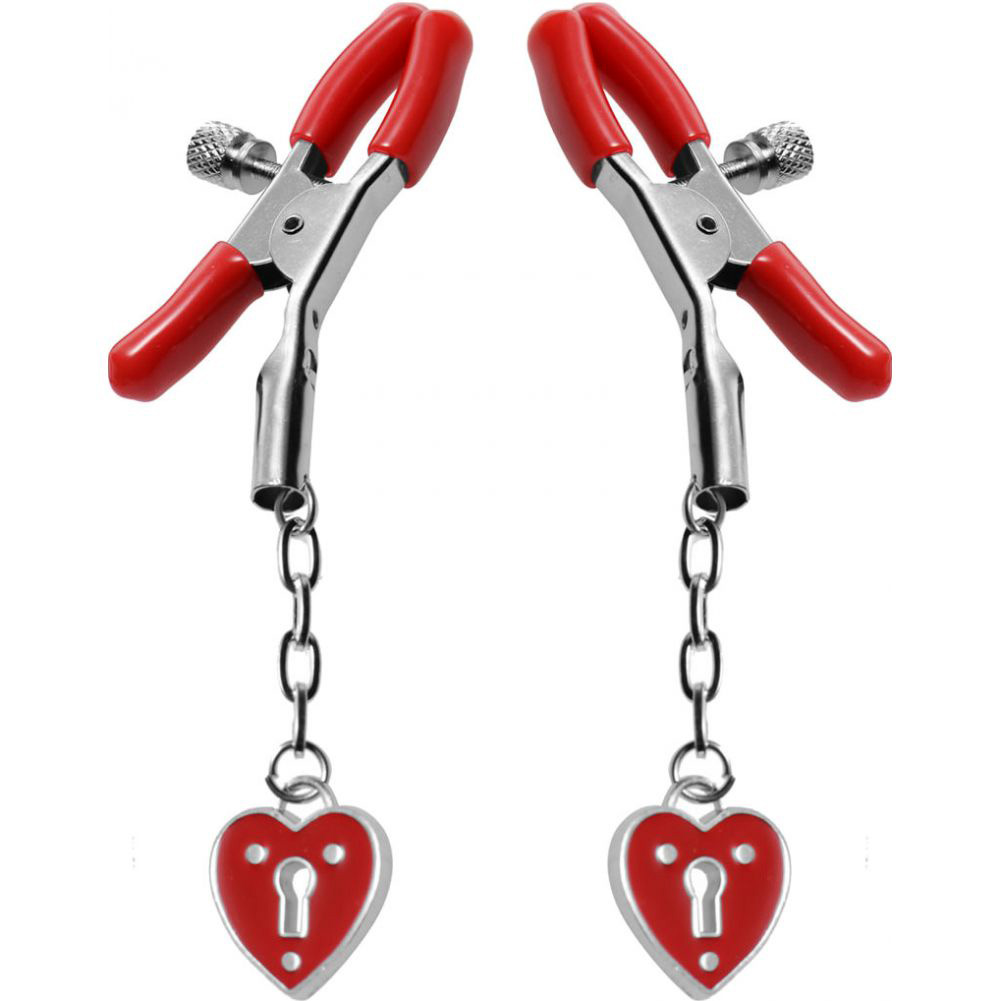 Master Series Crimson Tied Collection Nipple Clamps with Heart Padlocks Red - View #2