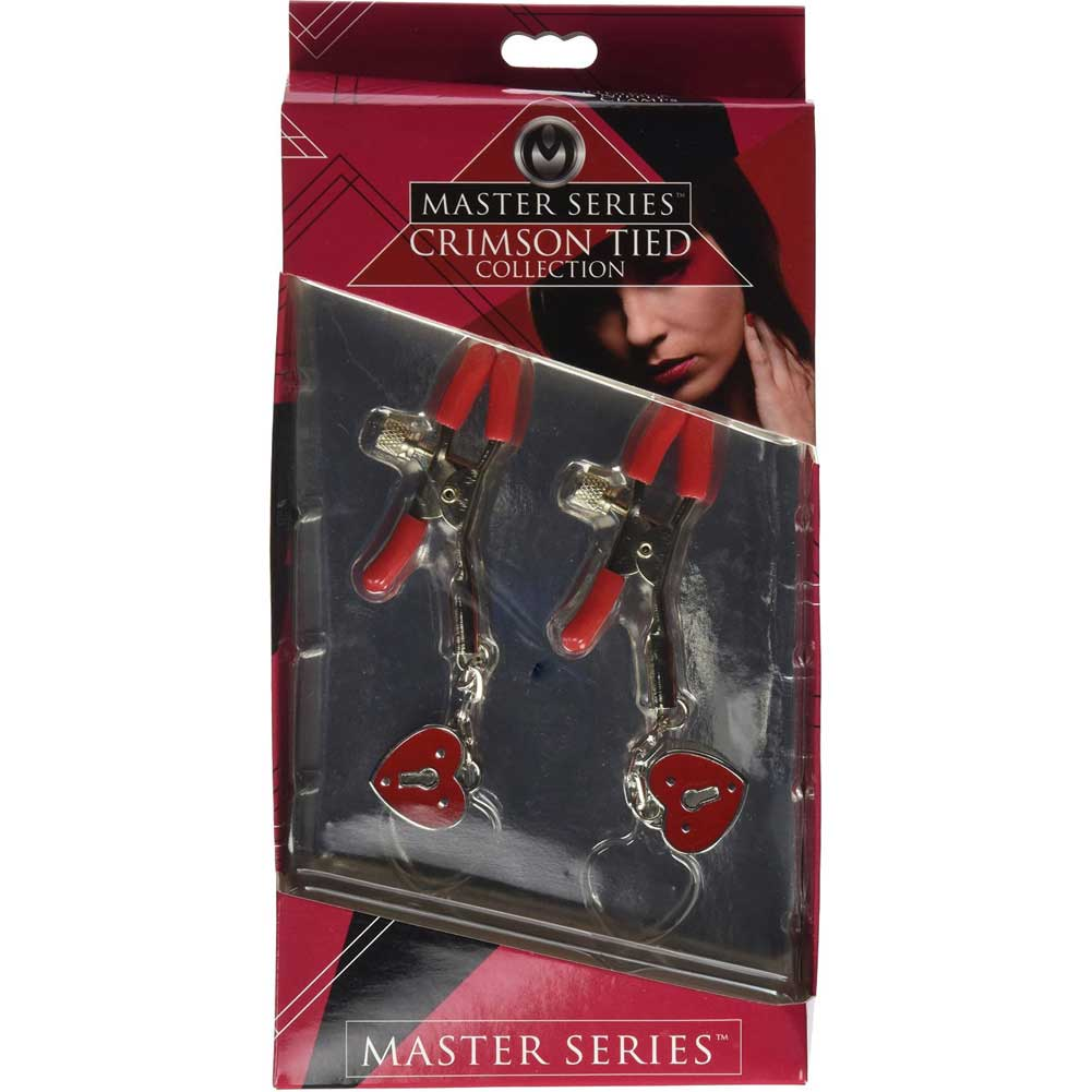 Master Series Crimson Tied Collection Nipple Clamps with Heart Padlocks Red - View #4