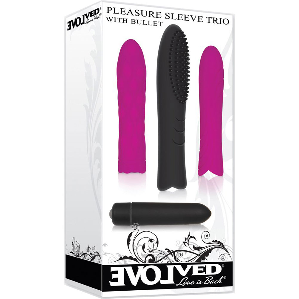 "Pleasure Trio Silicone Sleeve Set with Vibrating Bullet 3"" - View #1"