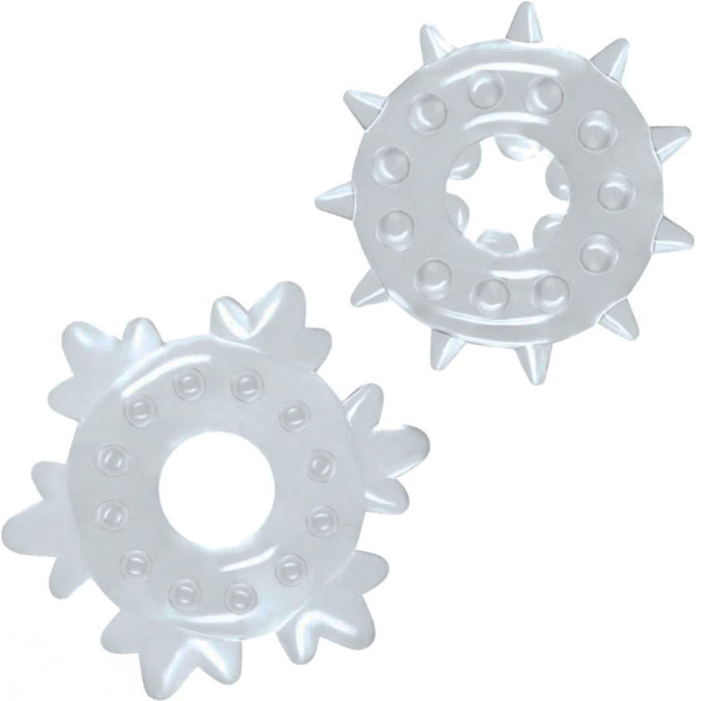 NS Novelties Renegade Spike Rings Clear Set of 2 - View #2