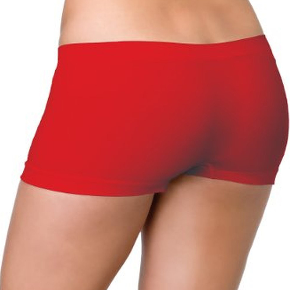 Leg Avenue Seamless Sexy Stretchy Boy Shorts One Size Red - View #1