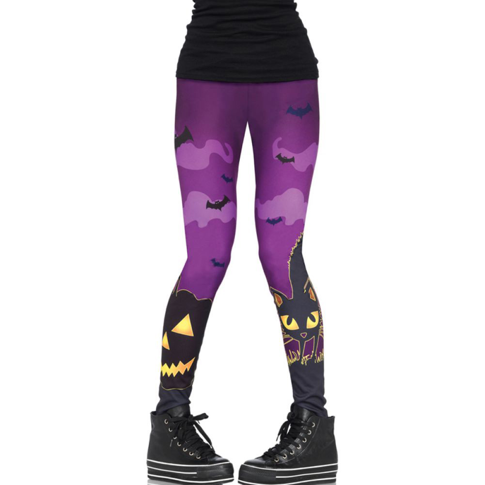 Leg Avenue Scaredy Cat Spooky Print Leggings Small - View #1