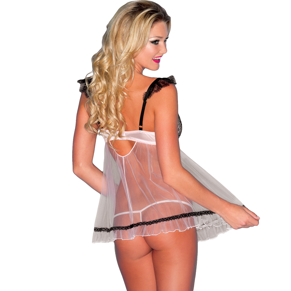 Sheer Chemise with Lace and Padded Cups and Thong Pink Small - View #2