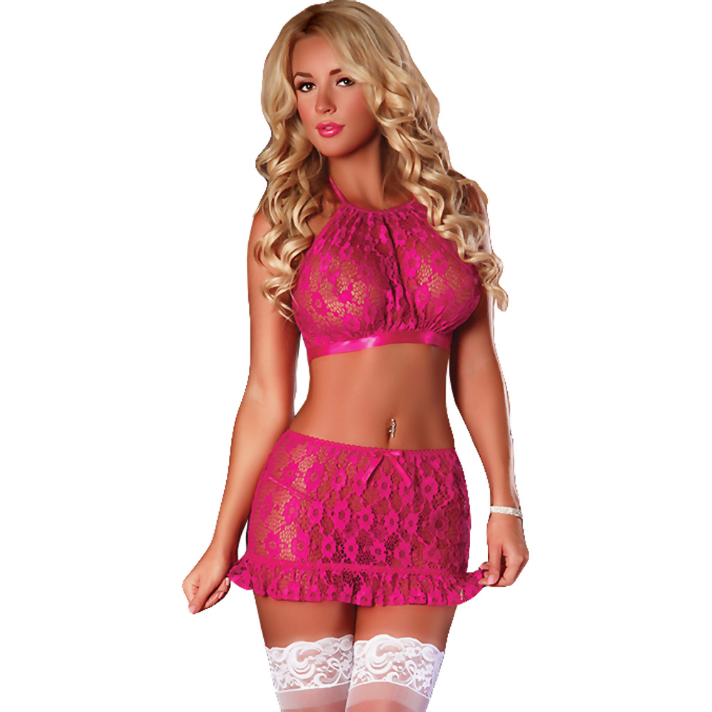 Magic Silk Forget Me Not Lace Halter Top Skirt and G-String Large/XL Raspberry Pink - View #1