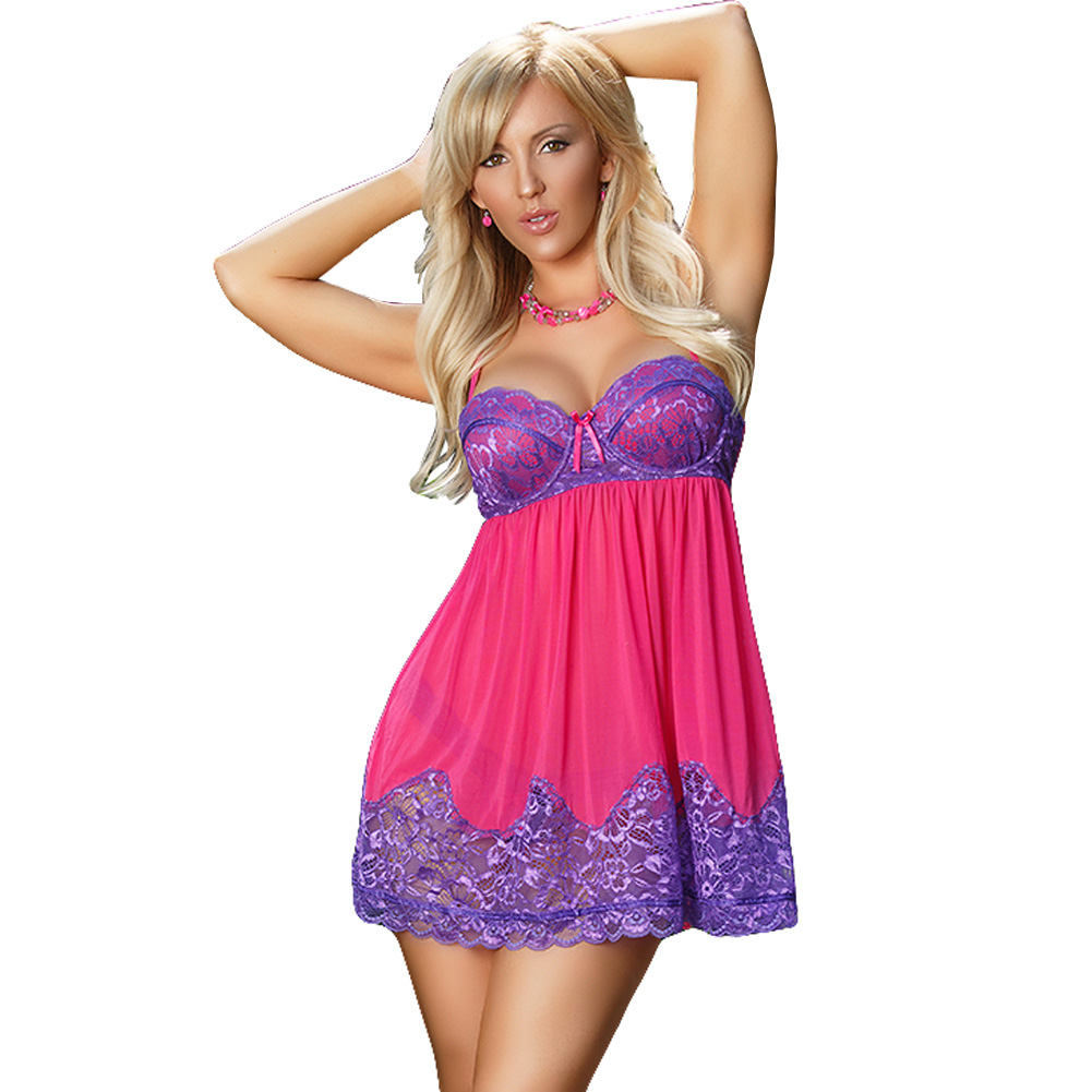 Sheer Passion Baby Doll and Thong Purple Extra Large - View #1