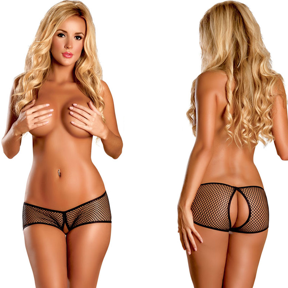 Booty Pack Split Back Crotchless Boy Short Panty 3 Piece Pack Small/Medium Black - View #3