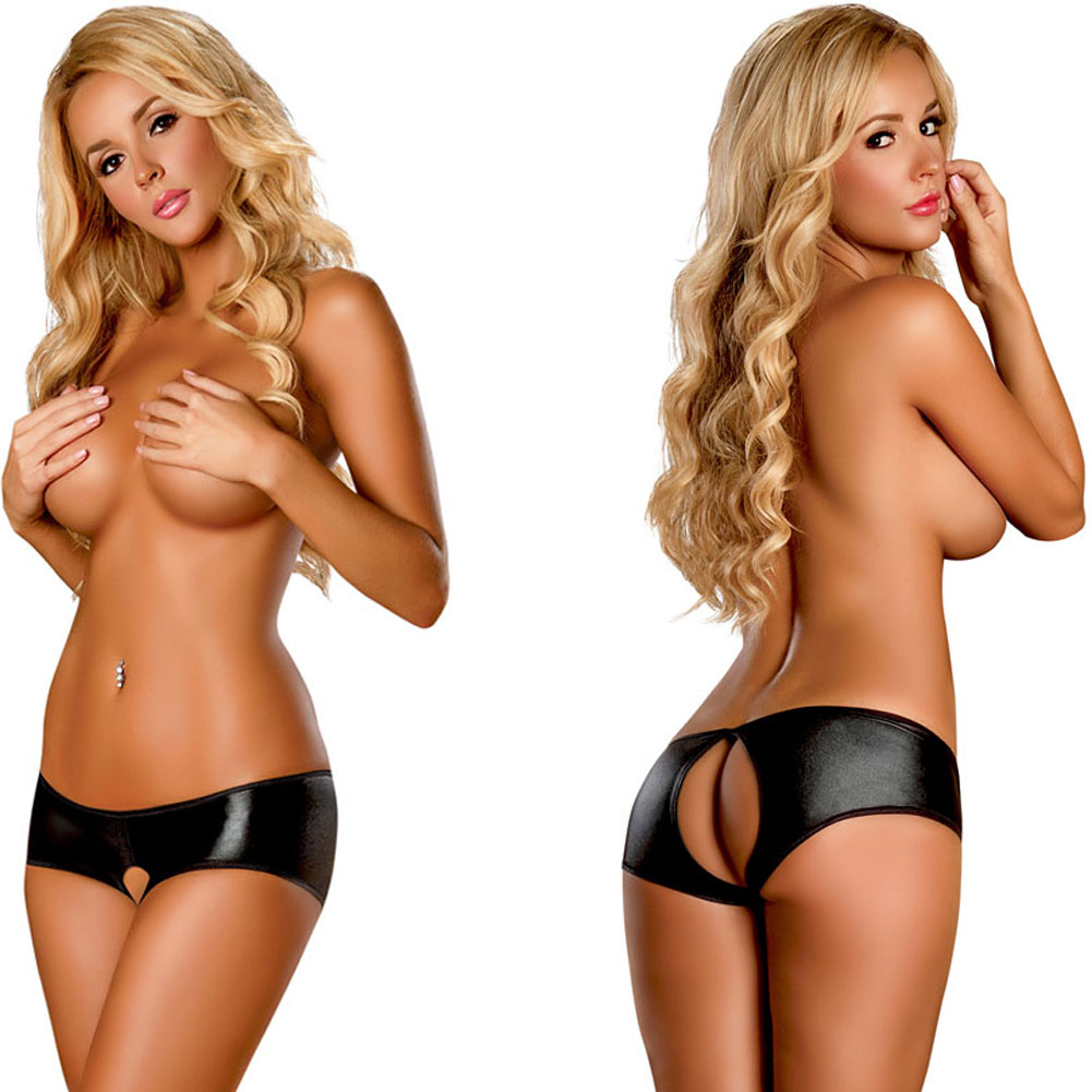 Booty Pack Split Back Crotchless Boy Short Panty 3 Piece Pack Black Large Extra Large - View #4