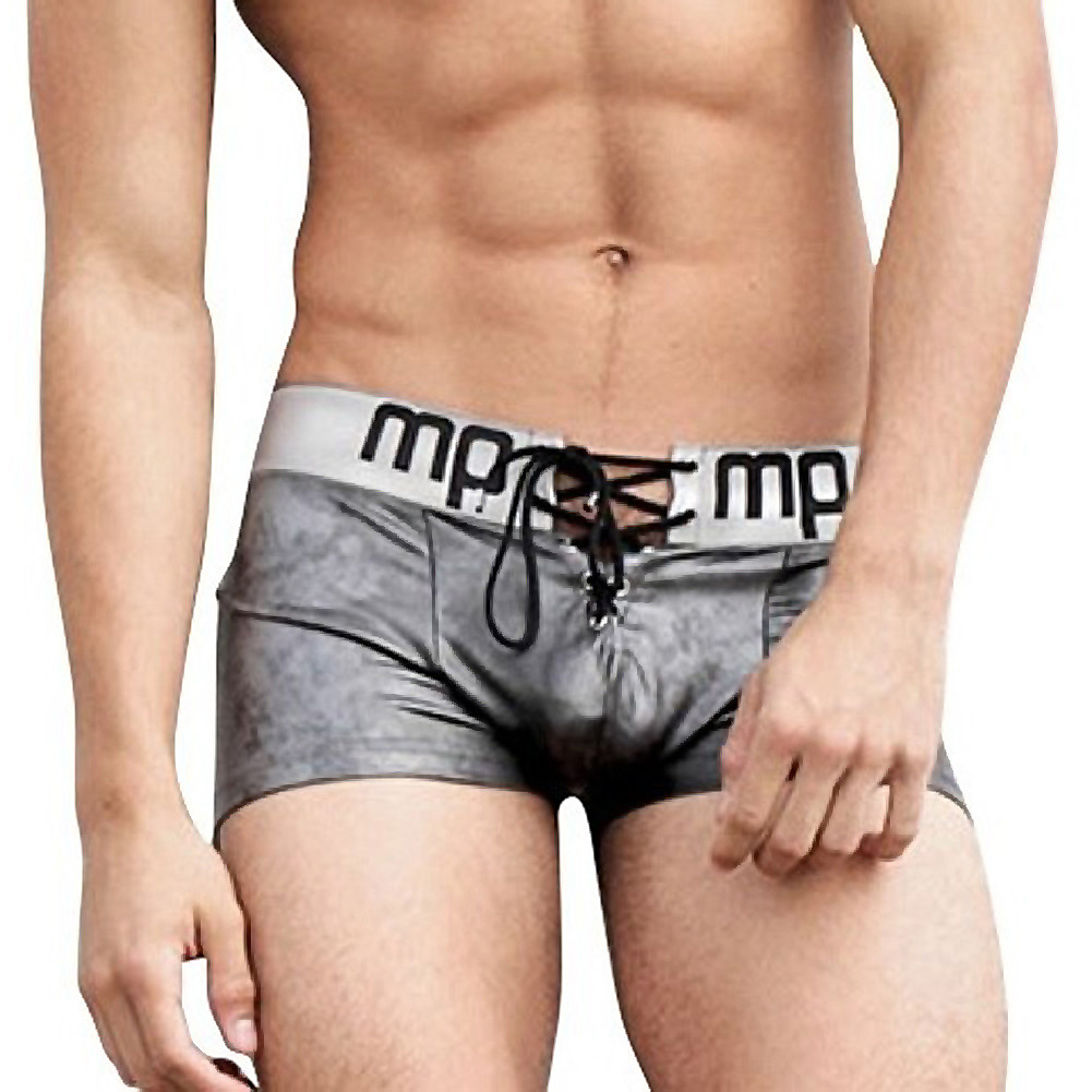 Male Power Molten Steel Lace Up Short Grey Large - View #1
