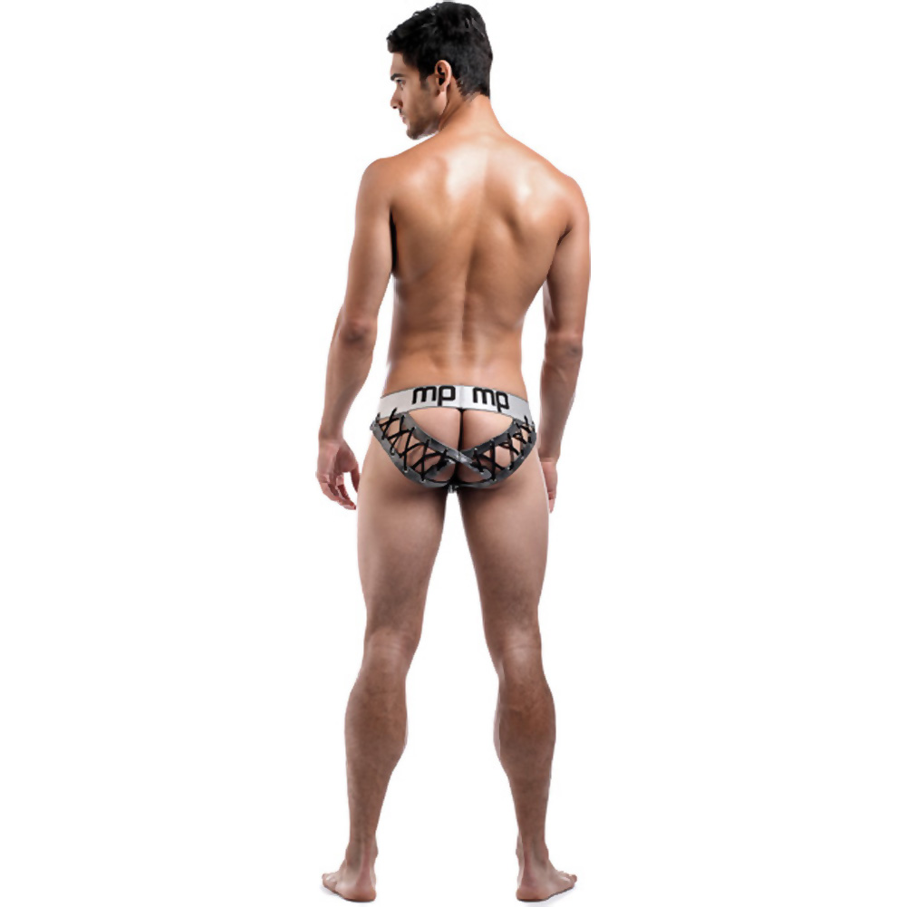 Male Power Molten Steel Lace Up Moonshine Briefs Large/Extra Large Grey - View #4