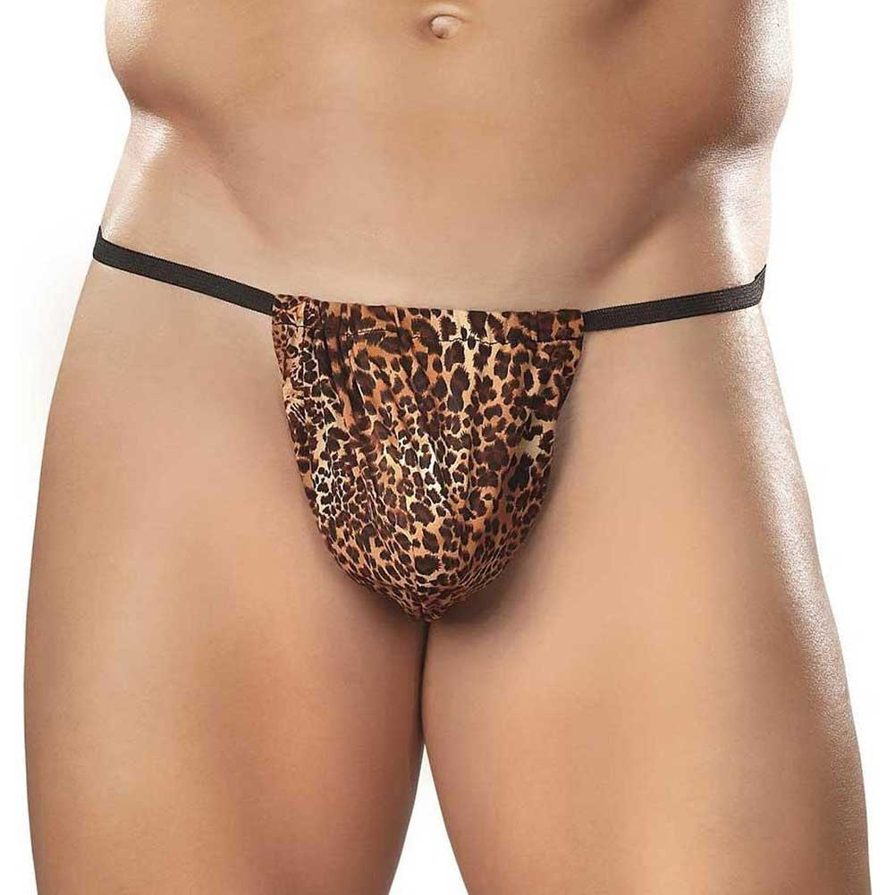 Male Power Animal Posing Strap One Size Brown Leopard - View #1