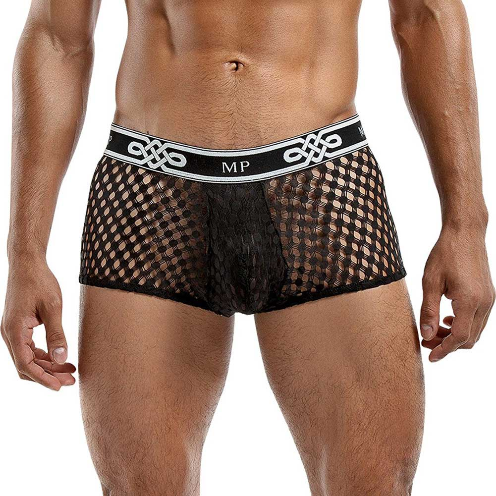 Male Power Sheer Fishnet Mini Short Small Black - View #1
